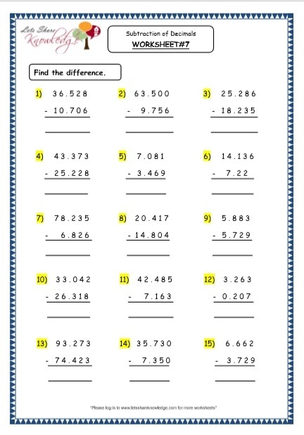 Grade  Maths Resources  Subtraction Of Decimals Printable