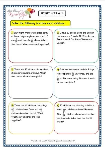 Grade  Maths Worksheets  Fraction Word Problems