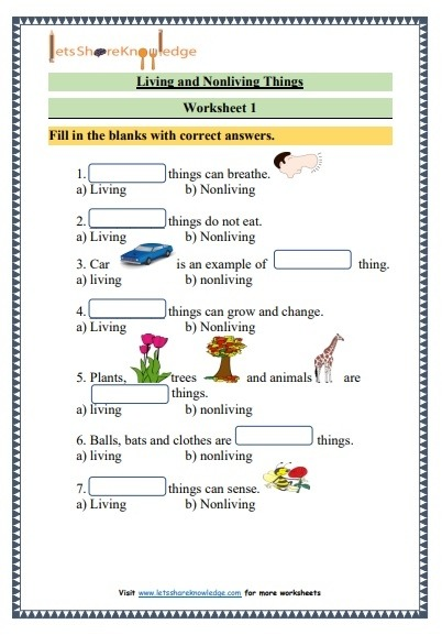 Grade  Science Living And Nonliving Things Printable Worksheets