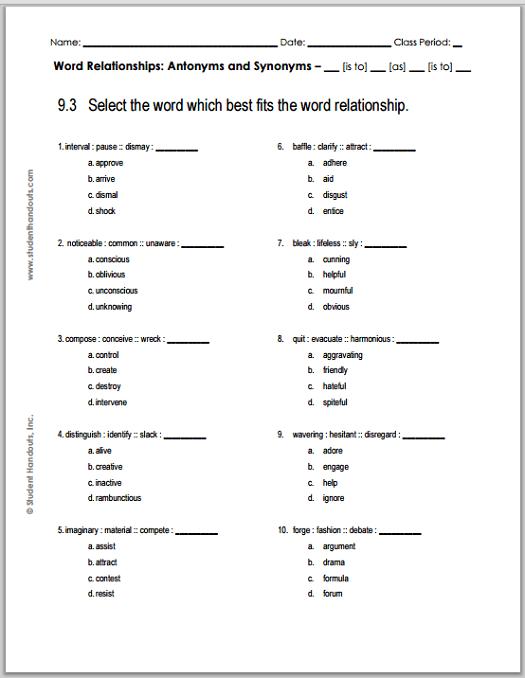 Grade  Verbal Reasoning Worksheet