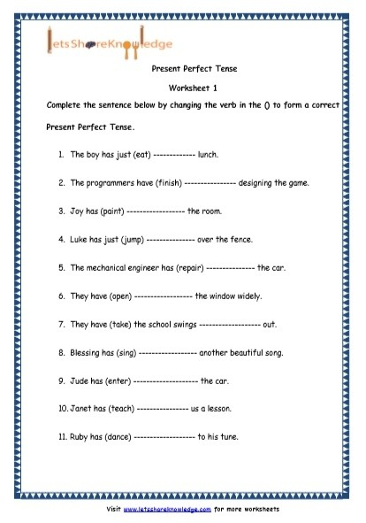 Grade English Resources Printable Worksheets Topic Present Perfect
