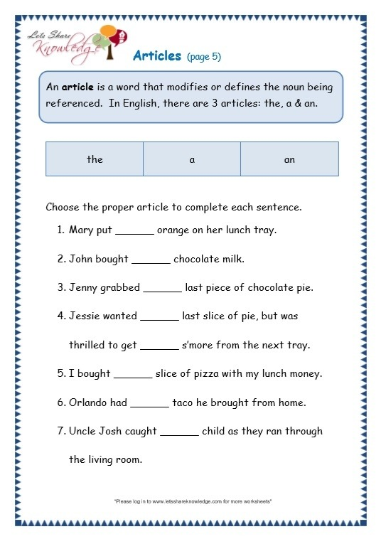 Grade Grammar Topic Articles Worksheets Lets Share Knowledge