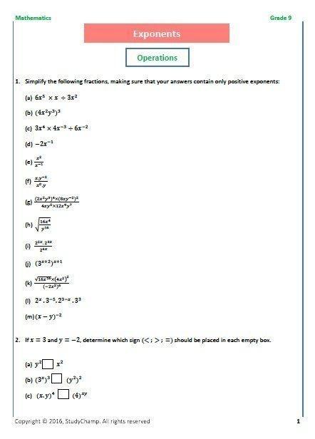 Grade Mathematics Exponents Scientific Notation Math Worksheets