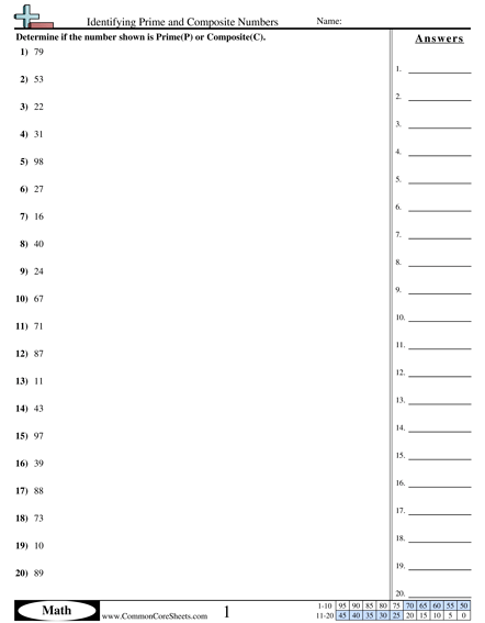 Identifying Prime And Composite Numbers Worksheet