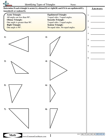 Identifying Types Of Triangles Worksheet
