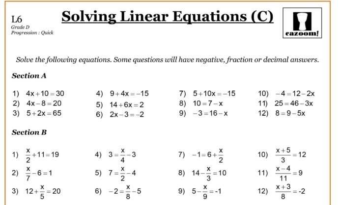 Image Result For Grade Math Worksheets Linear Equations Free