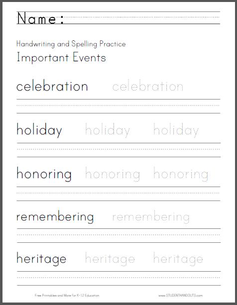 Important Events Handwriting Worksheet