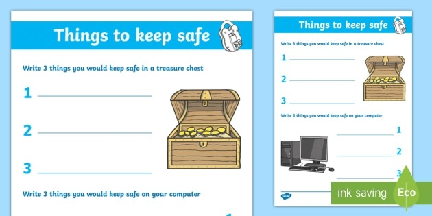 Internet Safety Things To Keep Safe Worksheet  Worksheet