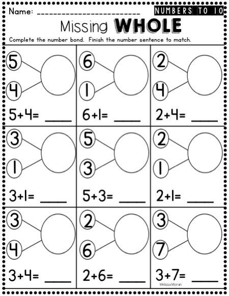 Kindergarten Number Bonds Worksheets To With Images Numbers Free