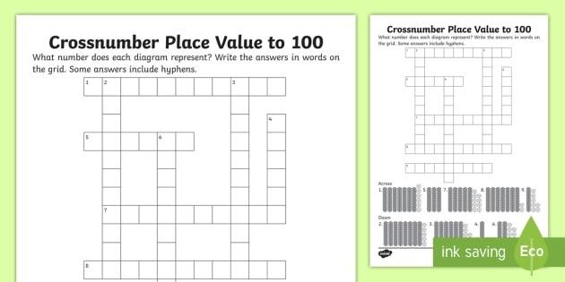 Ks Place Value To  Crossnumber Worksheet  Worksheet