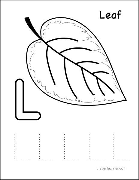 L Stands For Leaf Preschool Worksheet