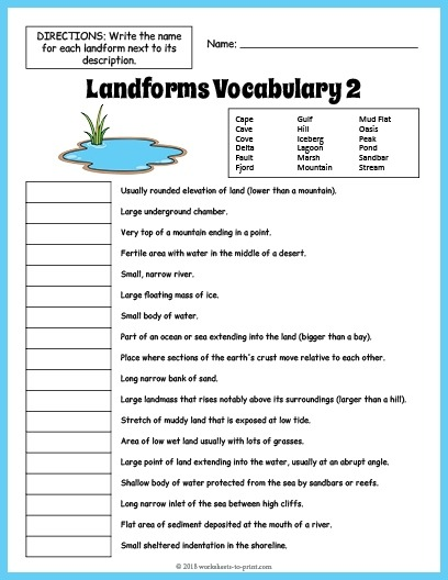 Landforms Vocabulary Worksheet