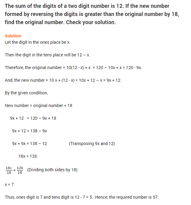Linear Equations In One Variable Ncert Extra Questions For Class