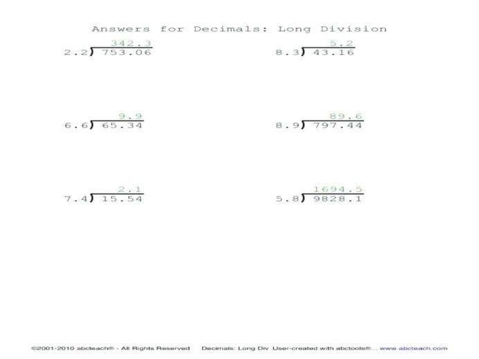 Long Division With Decimals Worksheets Worksheets Addition