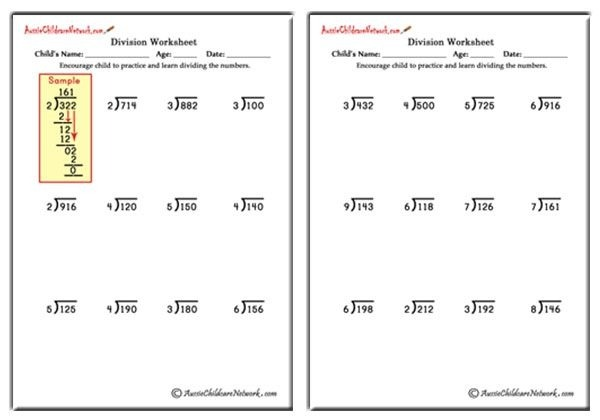 Long Division Worksheets With And Without Remainders
