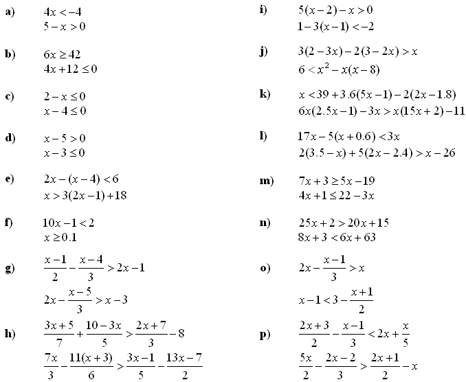 Math Exercises   Math Problems Systems Of Linear Equations And