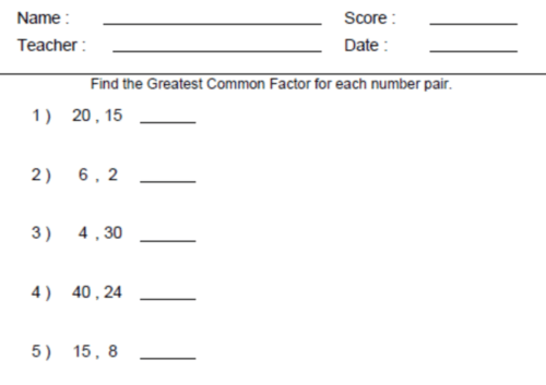 Math Worksheets For Th Grade