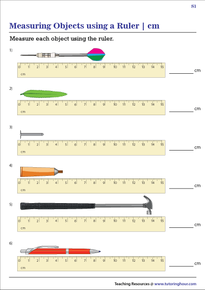 Measuring Objects Using A Ruler In Centimeters Worksheets In
