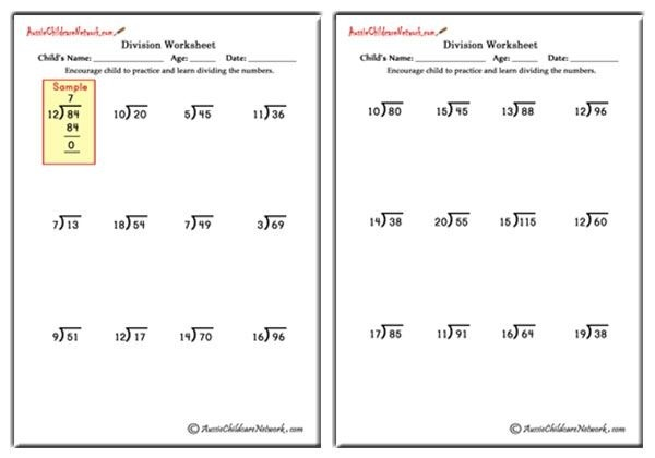 Mixed Division Worksheets With And Without Remainders