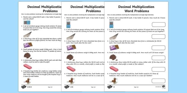 Multiply Single Digit Decimals Word Problems Worksheet  Worksheet