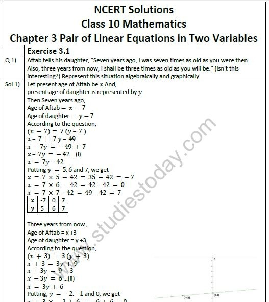 Ncert Solutions Mathematics Chapter Pair Of Linear Equations In