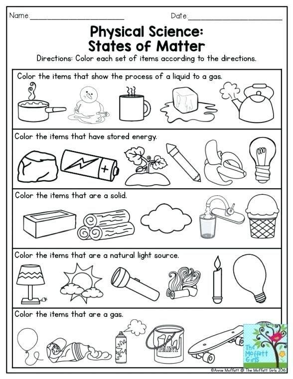 Nd Grade Science Worksheets On Matter In