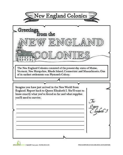 New Colonies Postcard Social Studies Worksheets Printable For
