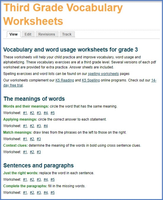 New Grade  Vocabulary Worksheets And Workbook