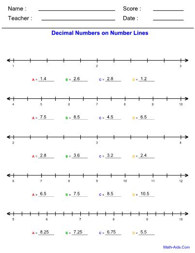 Number Lines Decimals Worksheet