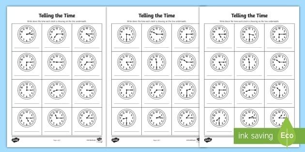 Oclock  Half Past And Quarter Past Times Worksheet