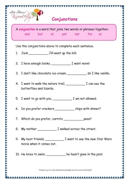 Page  Conjunctions Worksheet