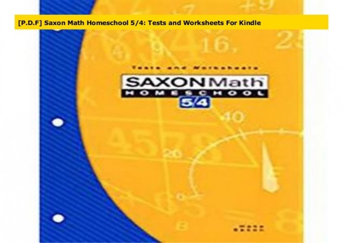 Pdf Saxon Math Homeschool  Tests And Worksheets For Kindle