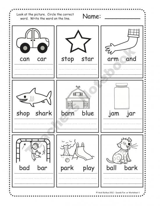 Phonics Circle And Write The Right Word