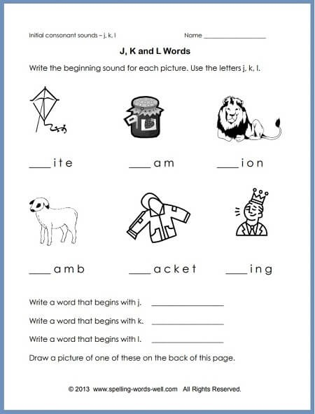 Phonics Worksheet To Reinforce Initial Sounds
