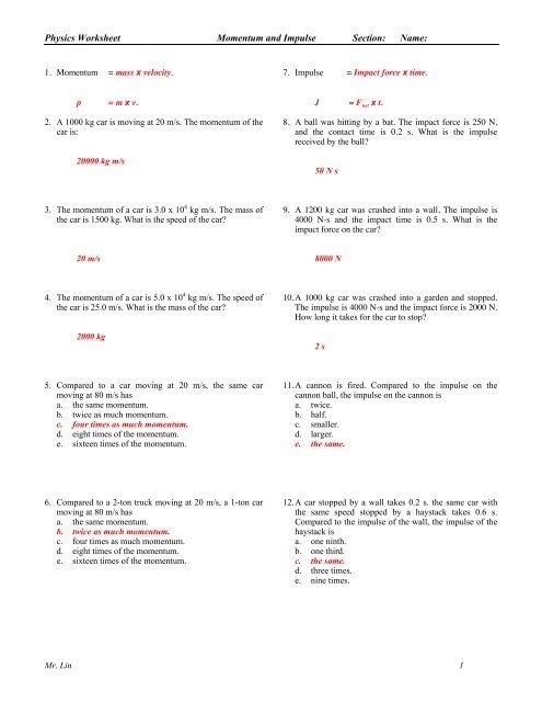 Physics Worksheet Momentum Impulse Work And Energy Answers
