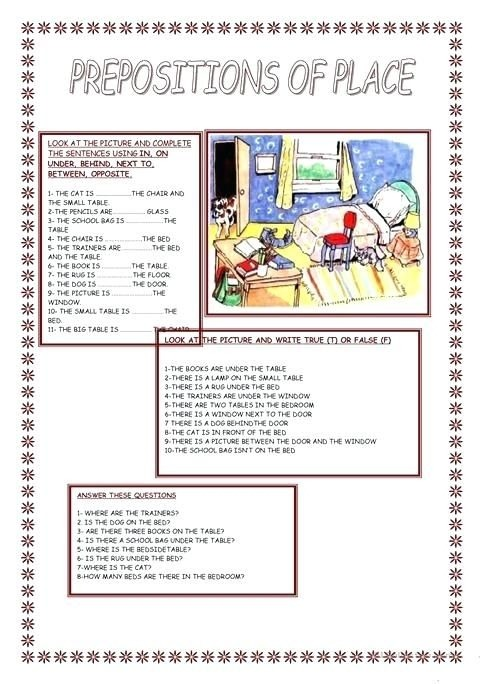 Preposition Of Place Worksheets Pdf With Answers