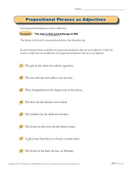 Prepositional Phrases As Adjectives