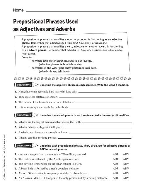 Prepositional Phrases Used As Adjectives And Adverbs Harcourt