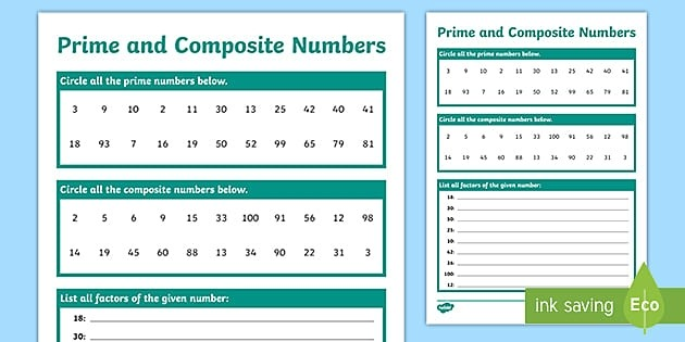 Prime And Composite Numbers Worksheet Teacher Made
