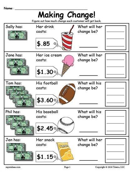 Printable Making Change Money Worksheets