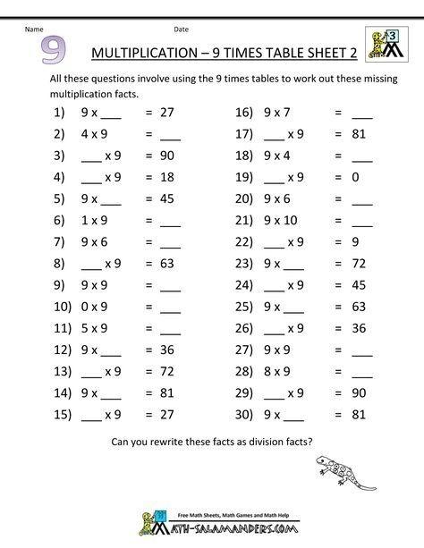 Printable Math Worksheets Multiplication  Times Table