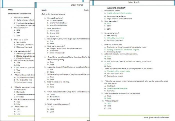 Printable Worksheets For Kids On People In Us History