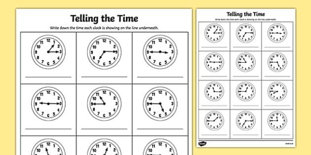 Quarter Past And Quarter To Times Worksheet  Worksheet
