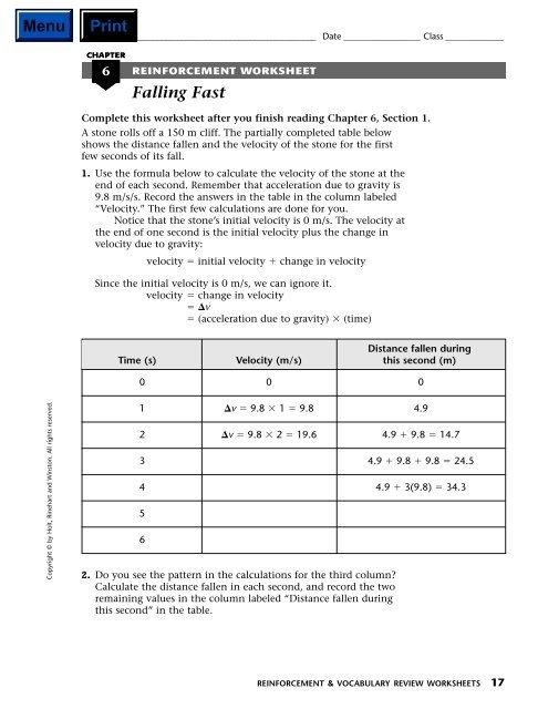 Reinforcement Worksheets