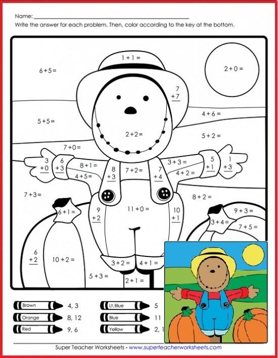 Scarecrow Math Super Teacher Worksheets Equation Website Dittos