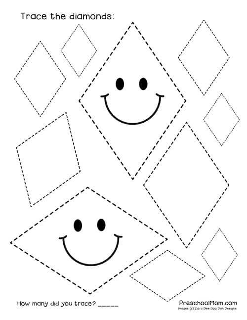 Shape Tracing Worksheets Preschool Mom Free Shapetracediamondsw My