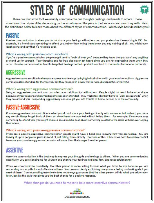 Social Skills Worksheets For Kids And Teens