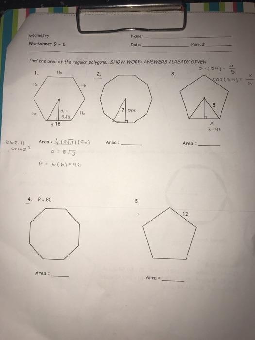Solved Name Geometry Worksheet