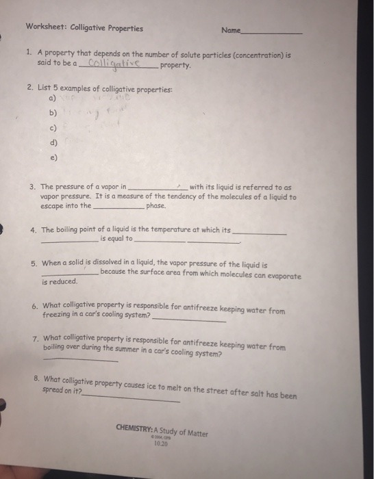 Solved Worksheet Colligative Properties Name A Property