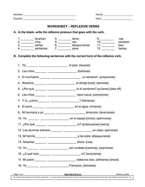 Spanish Reflexive Verbs Worksheet